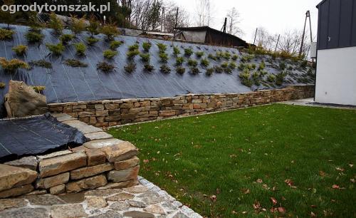 wilkowice mikuszowice lodygowice bystra ogrod murki piaskowiec trawnik schody piwniczka formowanie terenu skarpy IMG 8504